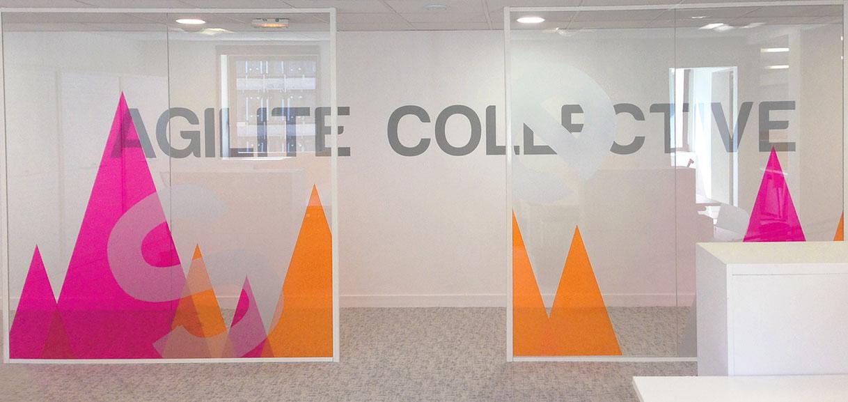 vitrophanie bureaux style montagnes bicolor