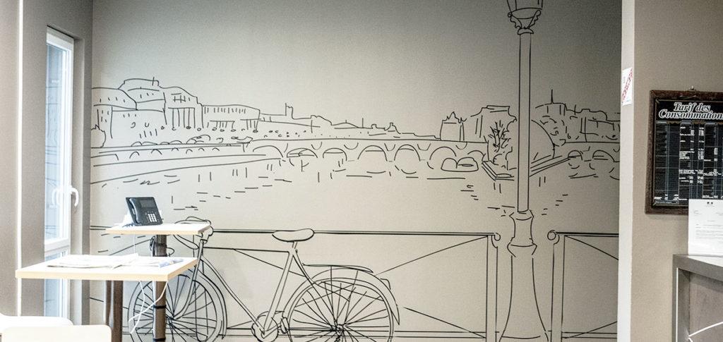 Décoration murale pour cafétéria au thème paris