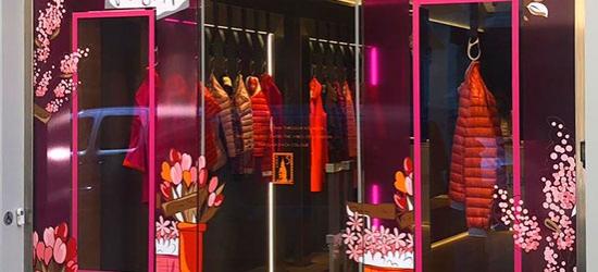 Vitrophanie pour vitrine de magasin thème fleurs roses